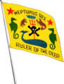 Neptunus Rex flag aboard USS West Virginia (BB-48), in July 1940.png