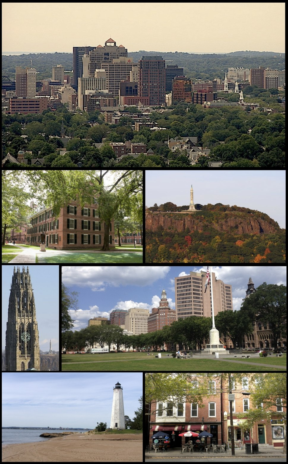 Clockwise from top: downtown New Haven skyline, East Rock Park, summer festivities on the New Haven Green, shops along Upper State Street, Five Mile Point Lighthouse, Harkness Tower, and Connecticut Hall at Yale.