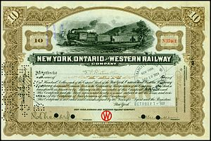 New York, Ontario and Western Railway - Share of the New York, Ontario and Western Railway, issued 7. October 1921