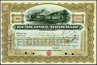 New York, Ontario and Western Railway - Share of the New York, Ontario and Western Railway, issued 7 October 1921