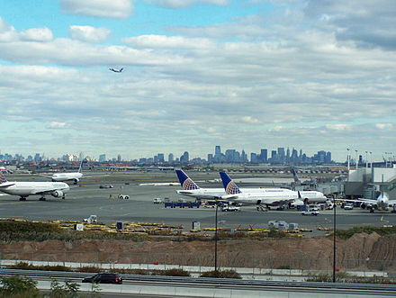 New York City and Jersey City skylines as seen from Newark Liberty International Airport Newark Airport.JPG