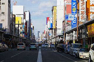Nipponbashi Shopping district and bridge in Osaka, Japan