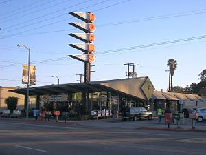 Googie architecture - Norms Restaurants location on La Cienega Boulevard in Los Angeles