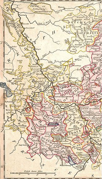 German mediatisation - The Rhineland in 1789: The annexation of the entire left bank of the Rhine by the French Republic set in motion the mediatization process
