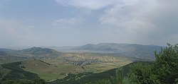 The northern part of Armenia's northern province of Lori as seen from Pushkin Pass. Visible in this picture is the village of Pushkino (foreground, left).