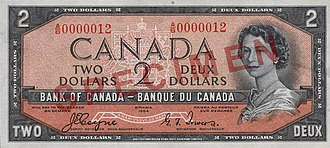 "1954 Series (banknotes) - Image: Obverse of $2 banknote, Canada 1954 Series, ""Devil's Head"" printing"