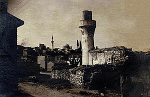 Odalar Mosque - The Mosque seen from East with Kariye Mosque in the background after the fire of 1919