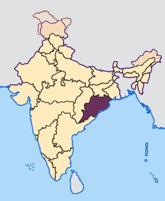 Odisha Legislative Assembly election, 2009 - Location of Orissa in India
