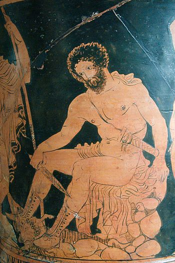 Odysseus consulting the shade of Tiresias. Sid...