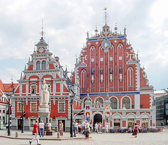 Riga - The building of the Brotherhood of Blackheads is one of the most iconic buildings of Old Riga (Vecrīga)