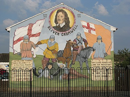 A modern Protestant mural in Belfast celebrating Oliver Cromwell and his activities. Oliver Cromwell mural (2736627207).jpg
