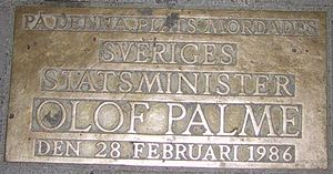 Memorial plaque at the place of Olof Palme's m...
