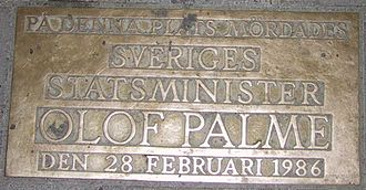 History of Sweden (1967–91) - Memorial plaque of the Olof Palme assassination.