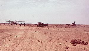 Northern Frontier Regiment (Oman) - A Short SC.7 Skyvan resupplying Dhofar Brigade units in 1971
