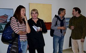 Opening Exhibition of Pesin's and Matusevich's paintings 19.09.2014 Hanna Karaleva Vika Retskaya.JPG