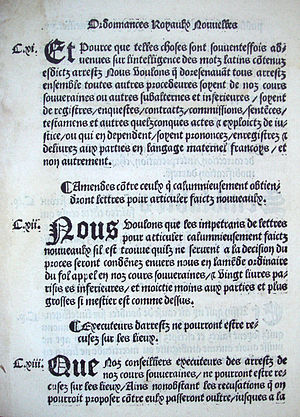 Ordinance of Villers-Cotterêts - Image: Ordonnance de Villers Cotterets August 1539