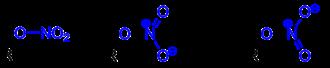Salpetersäureester mit vereinfachter Formel (links) und der Strukturformel (rechts). Der Rest R ist ein Organyl-Rest (Aryl-Rest, Alkyl-Rest, Arylalkyl-Rest etc.). Die Salpetersäureestergruppe (Nitratgruppe) ist blau markiert.