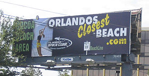 "Florida State Road 528 - A billboard for the Space Coast, calling it ""Orlando's closest beach"", and labeling SR 528 the BeachLine"
