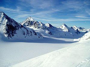 La Singla - La Singla (center left) from the Otemma Glacier