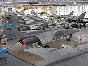 Overview of the Jaguar hangar at Cosford (4022452417).jpg