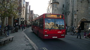 Queen Street, Oxford - Bus approaching Carfax in Queen Street, Oxford.