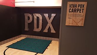 Portland International Airport carpet - Portland International Airport carpet on display at the Moda Center