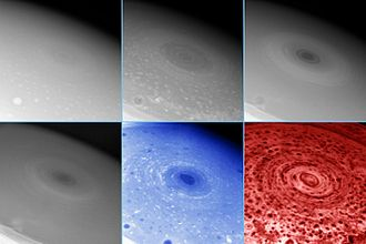 Eye (cyclone) - A hurricane-like storm on the south pole of Saturn displaying an eyewall tens of kilometers high