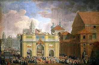 Krakowskie Przedmieście - Entry of king Augustus III into Warsaw with a temporary triumphal arch at Krakowskie Przedmieście by Samuel Mock (1734). St. Anne's Church is visible on the right
