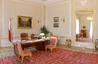 President of Poland - The office of president at the Presidential Palace in Warsaw.