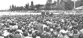 Spanish Socialist Workers' Party - Pablo Iglesias addressing the workers during a 1905 demonstration in Madrid.