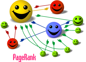 PageRank - Cartoon illustrating the basic principle of PageRank. The size of each face is proportional to the total size of the other faces which are pointing to it.