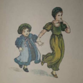 Page 31 The Pied Piper of Hamelin 1888 taken by MystinaRose, small feet pattering, with wooden shoes clattering. Mommy & Son. Green dress and blue outfit with bonnets.png