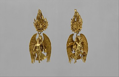 Pair of gold earrings with Ganymede and the eagle MET DT202832.jpg