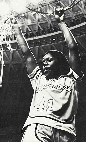 1982 NCAA Division I Women's Basketball Tournament - Pam Kelly cutting down the nets after the 1982 NCAA Women's Basketball Tournament Championship win