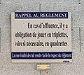 Panneau Rappel au réglement dans le boulodrome couvert de Belley.jpg