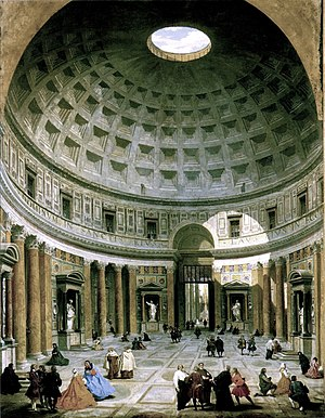 Grand Tour - The interior of the Pantheon in the 18th century, painted by Giovanni Paolo Panini