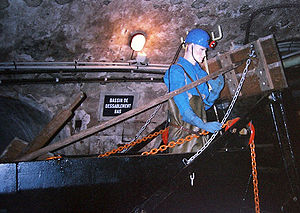 Paris Sewer Museum - Sewer worker mannequin in the museum tunnel