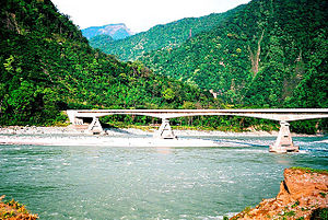 Lohit River - The Lohit River entering the Brahmaputra Valley plains at Parshuram Kund