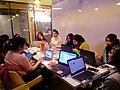 Participants at the women's health campaigns Wikipedia editathon.jpg