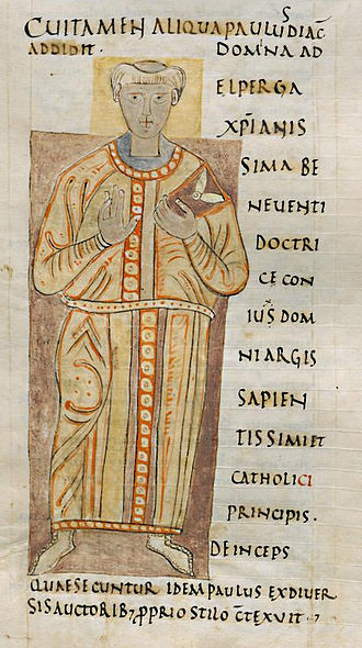 Paul the Deacon - Depiction of Paulus Diaconus in a 10th-century manuscript (Laurentian Library Plut. 65.35 fol. 34r)