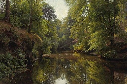 Peder Mønsted - Skovbevoksede River Landskab