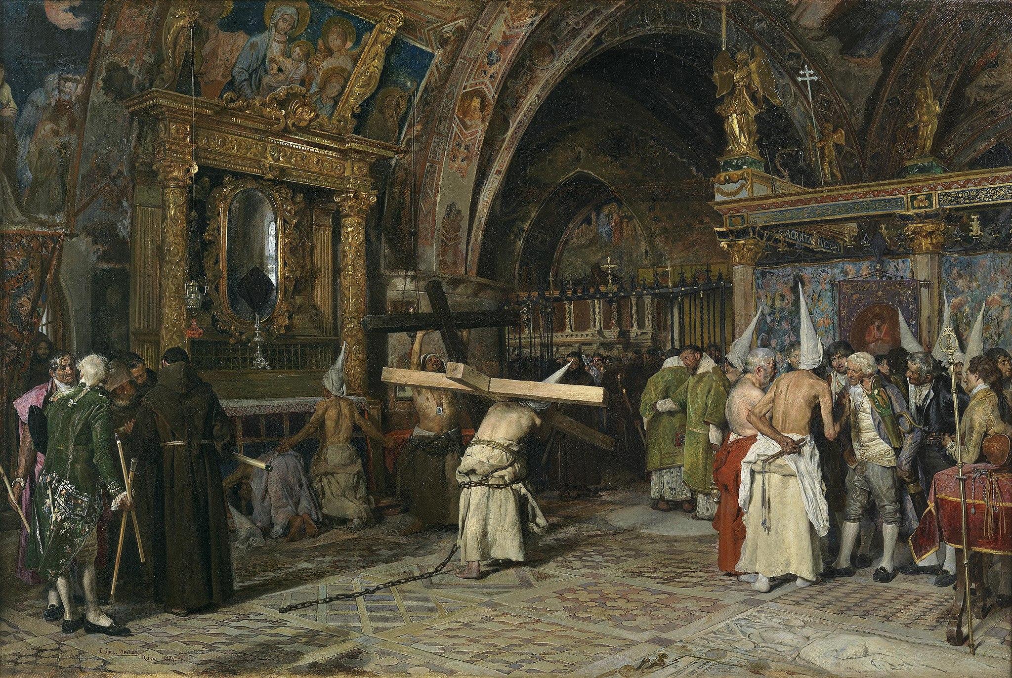 Penitentes en la Basílica Inferior de Asís, por José Jiménez Aranda