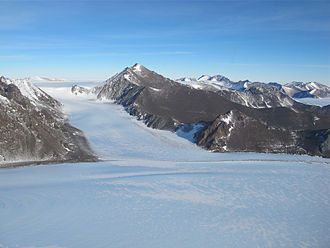 Queen Elizabeth Land - The glacier flowing from the Pensacola Mountains onto the Filchner-Ronne Ice Shelf