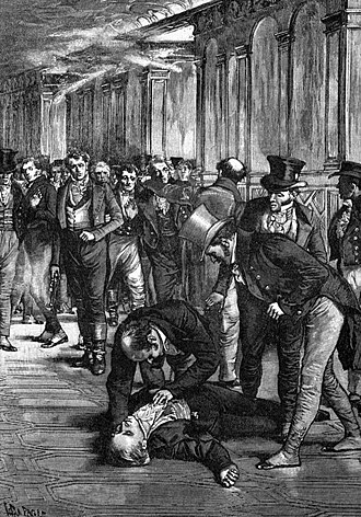 Assassination of Spencer Perceval - Immediate aftermath of Perceval's assassination, 11 May 1812 (a 1909 representation)