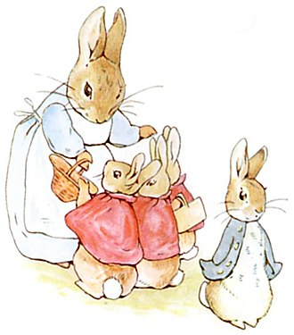 Picture book - Peter Rabbit with his family, from The Tale of Peter Rabbit by Beatrix Potter, 1902