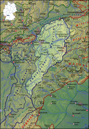 Westrich Plateau - The Westrich Plateau (highlighted) to the west of the Palatinate Forest and Wasgau