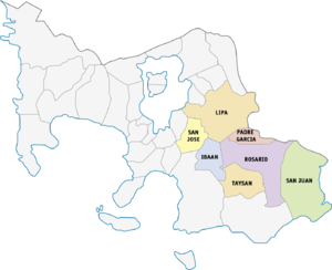 Legislative districts of Batangas - 4th district of Batangas, 1987–2016