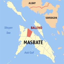 Map of Masbate with Baleno highlighted