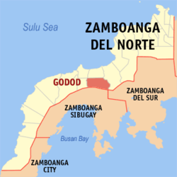 Map of Zamboanga del Norte with Godod highlighted