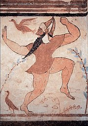 Phersu from the painted walls of the tomb of the Augurs at Tarquinia, 525-500 BCE, Etruscan